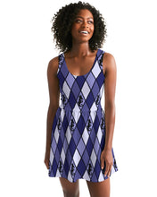 Load image into Gallery viewer, Dwayne Elliott Collection Blue Argyle Women's Scoop Neck Skater Dress - Dwayne Elliott Collection