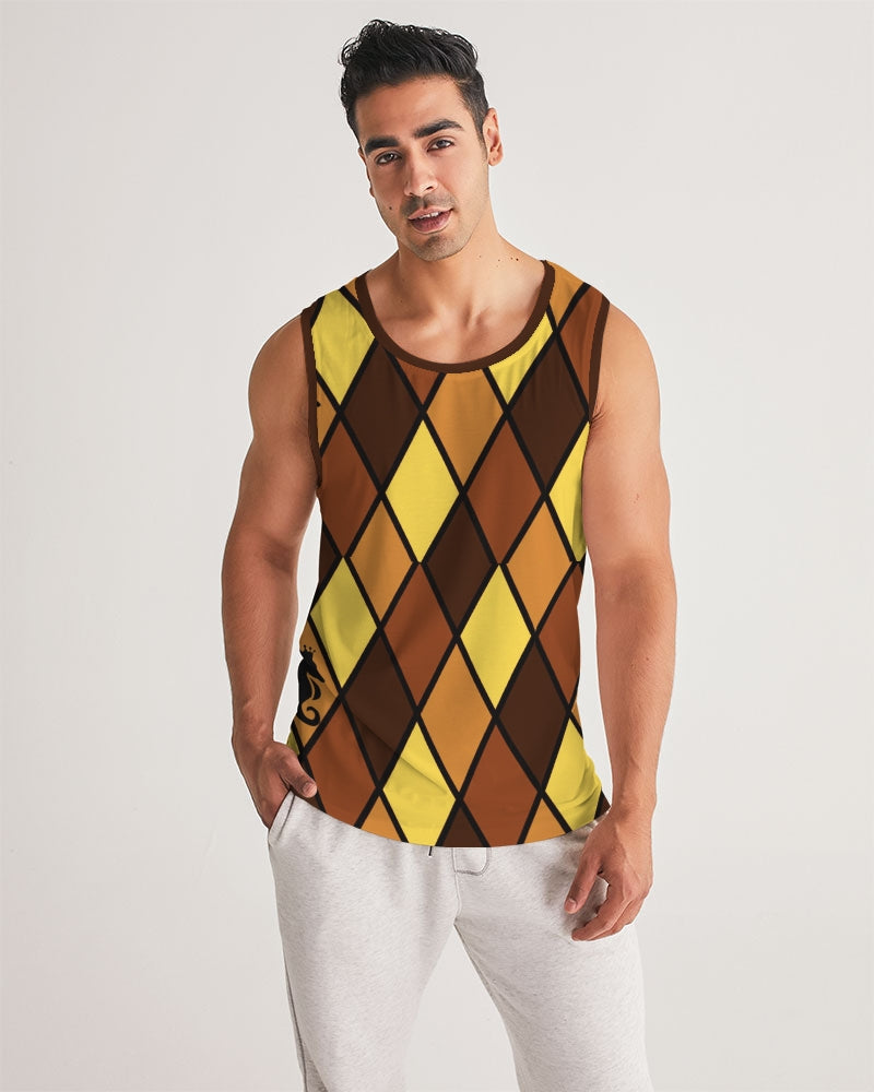 Dwayne Elliott Collection Brown Argyle Men's Sport Tank - Dwayne Elliott Collection