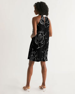 Dwayne Elliot Collection Black Rose  Halter Dress - Dwayne Elliott Collection