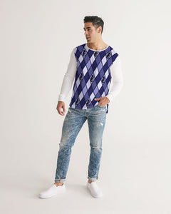 Dwayne Elliott Collection Blue Argyle Men's Long Sleeve Tee - Dwayne Elliott Collection