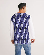 Load image into Gallery viewer, Dwayne Elliott Collection Blue Argyle Men's Long Sleeve Tee - Dwayne Elliott Collection