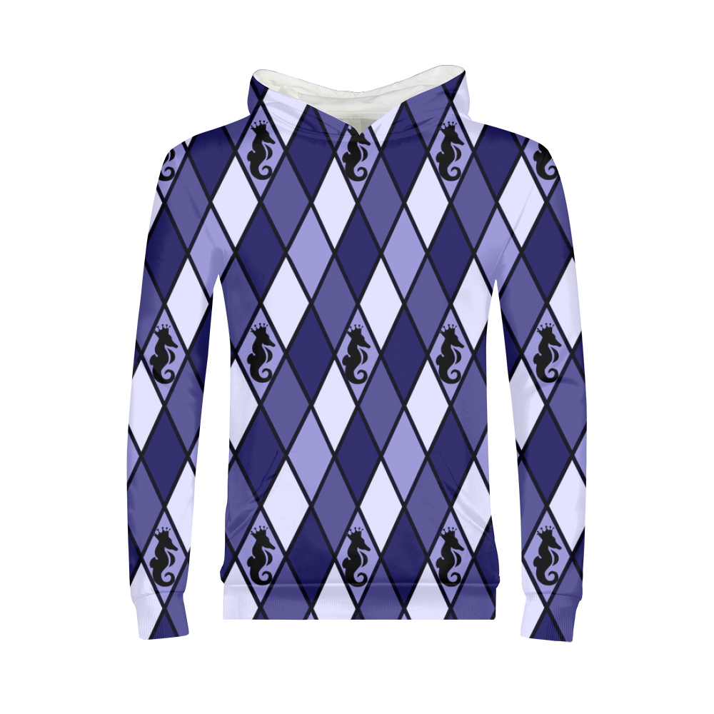 Dwayne Elliott Collection Blue Argyle Kids Hoodie - Dwayne Elliott Collection