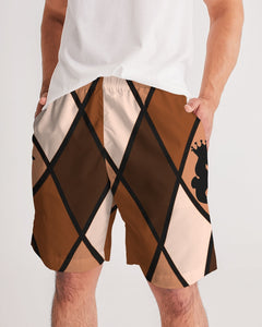 Dwayne Elliott Collection Brown Argyle Men's Jogger Shorts - Dwayne Elliott Collection