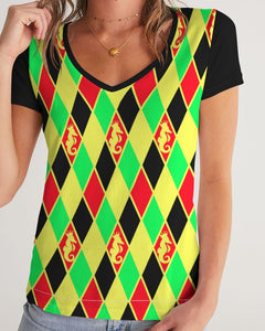 Dwayne Elliott Colection Women's Argyle V-Neck Tee - Dwayne Elliott Collection
