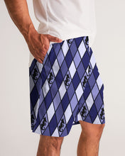 Load image into Gallery viewer, Dwayne Elliott Collection Blue Argyle Men's Jogger Shorts - Dwayne Elliott Collection