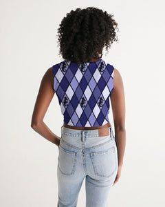 Dwayne Elliott Collection Blue Argyle Women's Twist-Front Tank - Dwayne Elliott Collection