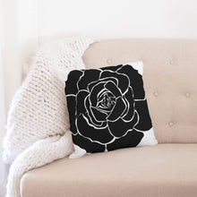 "Load image into Gallery viewer, Dwayne Elliot Collection Black Rose Throw Pillow Case 18""x18"" - Dwayne Elliott Collection"