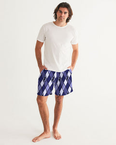 Dwayne Elliott Collection Blue Argyle Men's Swim Trunk - Dwayne Elliott Collection