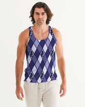 Laden Sie das Bild in den Galerie-Viewer, Dwayne Elliott Collection Blue Argyle Men's Tank - Dwayne Elliott Collection