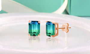 "Swarovski Crystals ""Aquamarine and Green"" - Emerald Cut Bi Color 2.00 CT Tourmaline Stud  Earring"