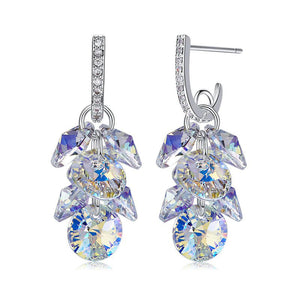 Swarovski Crystals Aurora Borealis Grape Bunch Drop Earring