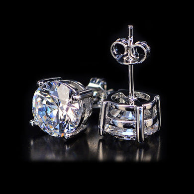 White Topaz Swarovski Crystal 6mm Stud Earring 14K White Gold Plated - 1.00 CT