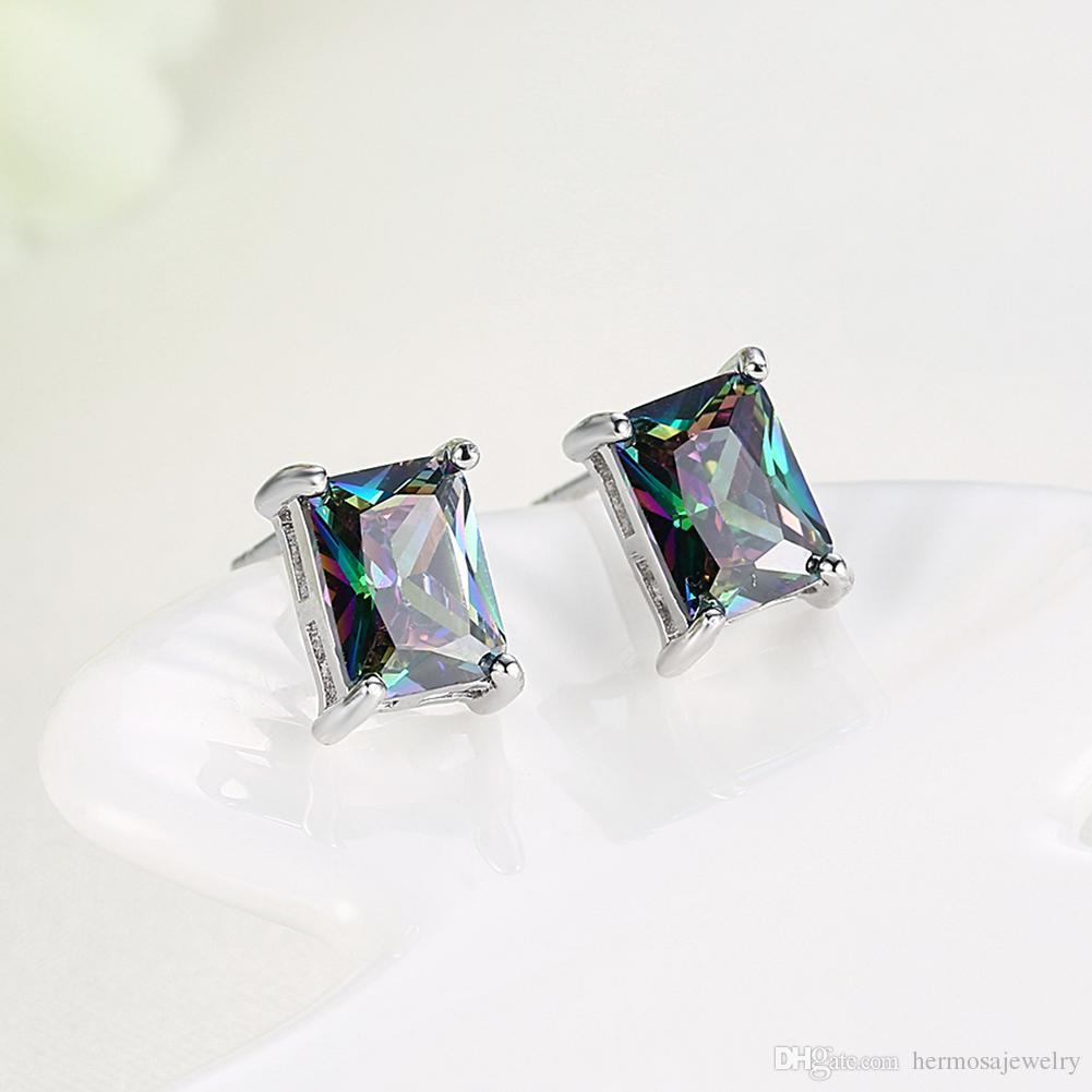 Mystic Topaz Princess Cut Earrings in 18K White Gold