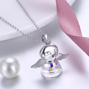Aurora Borealis Sterling Silver Angel Necklace