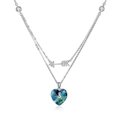 Bermuda Blue Swarovski Crystals Sterling Silver Pave Double Layer Heart Necklace