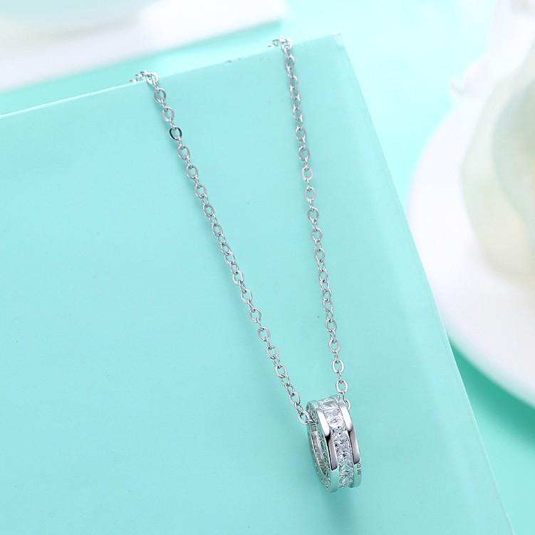 Swarovski Crystal 18K White Gold over Sterling Silver Pave Drop Necklace