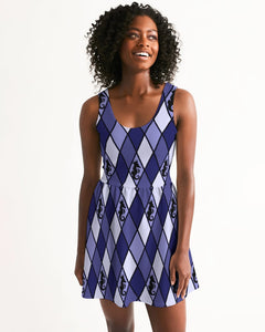 Dwayne Elliott Collection Blue Argyle Women's Scoop Neck Skater Dress - Dwayne Elliott Collection