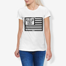 Load image into Gallery viewer, Dwayne Elliott Collection Flag Women's Cotton Stretch CrewNeck T-Shirt - Dwayne Elliott Collection