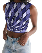 Load image into Gallery viewer, Dwayne Elliott Collection Blue Argyle Women's Twist-Front Tank - Dwayne Elliott Collection