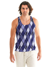 Load image into Gallery viewer, Dwayne Elliott Collection Blue Argyle Men's Tank - Dwayne Elliott Collection