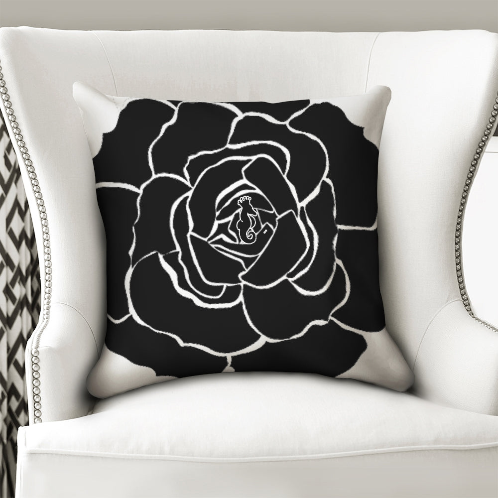 Dwayne Elliot Collection Black Rose Throw Pillow Case 18