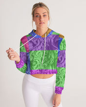 Load image into Gallery viewer, Skull Bow Women's Cropped Hoodie