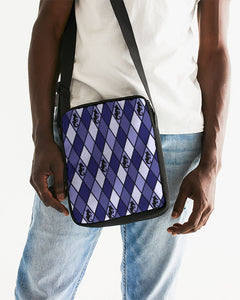 Dwayne Elliott Collection Blue Argyle Messenger Pouch - Dwayne Elliott Collection