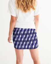 Load image into Gallery viewer, Dwayne Elliott Collection Blue Argyle Women's Mini Skirt - Dwayne Elliott Collection