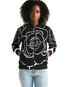 Dwayne Elliot Collection Black Rose Women's Bomber Jacket - Dwayne Elliott Collection