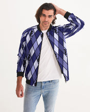 Load image into Gallery viewer, Dwayne Elliott Collection Blue Argyle Menäó»s Bomber Jacket - Dwayne Elliott Collection