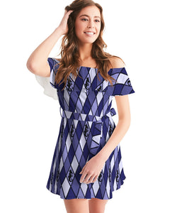Dwayne Elliott Collection Blue Argyle  Women's Off-Shoulder Dress - Dwayne Elliott Collection