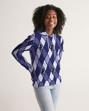 Laden Sie das Bild in den Galerie-Viewer, Dwayne Elliott Collection Blue Argyle Women's Hoodie - Dwayne Elliott Collection