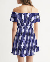 Load image into Gallery viewer, Dwayne Elliott Collection Blue Argyle  Women's Off-Shoulder Dress - Dwayne Elliott Collection