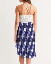 Load image into Gallery viewer, Dwayne Elliott Collection Blue Argyle Women's High-Low Halter Dress - Dwayne Elliott Collection