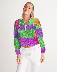Skull Bow Women's Cropped Windbreaker