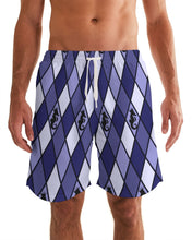 Load image into Gallery viewer, Dwayne Elliott Collection Blue Argyle Men's Swim Trunk - Dwayne Elliott Collection