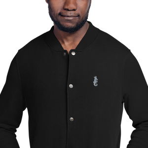 Dwayne Elliott Collection Embroidered Champion Bomber Jacket - Flamingo Seahorse Logo - Dwayne Elliott Collection