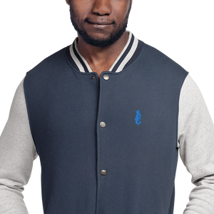 Dwayne Elliott Collection Embroidered Champion Bomber Jacket - Aqua/ Teal Logo - Dwayne Elliott Collection