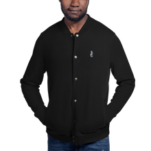 Load image into Gallery viewer, Dwayne Elliott Collection Embroidered Champion Bomber Jacket - Flamingo Seahorse Logo - Dwayne Elliott Collection