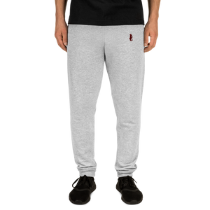 Dwayne Elliott Collection Unisex Joggers - Burgundy Embroidered Seahorse Logo - Dwayne Elliott Collection