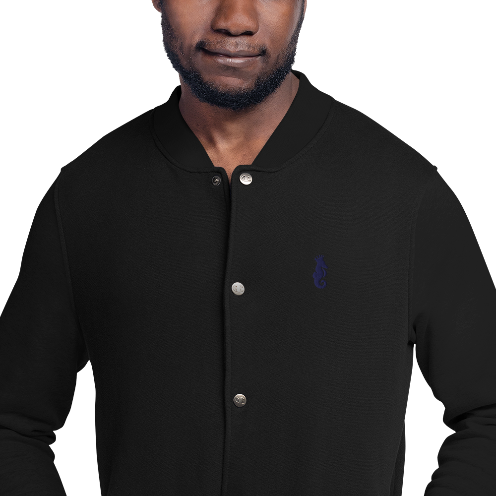 Dwayne Elliott Collection Embroidered Champion Bomber Jacket - Navy Logo - Dwayne Elliott Collection