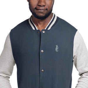 Dwayne Elliott Collection Embroidered Champion Bomber Jacket - Gray Logo - Dwayne Elliott Collection