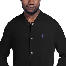 Load image into Gallery viewer, Dwayne Elliott Collection Embroidered Champion Bomber Jacket - Purple Logo - Dwayne Elliott Collection