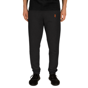 Dwayne Elliott Collection Unisex Joggers - Orange Embroidered Seahorse Logo - Dwayne Elliott Collection