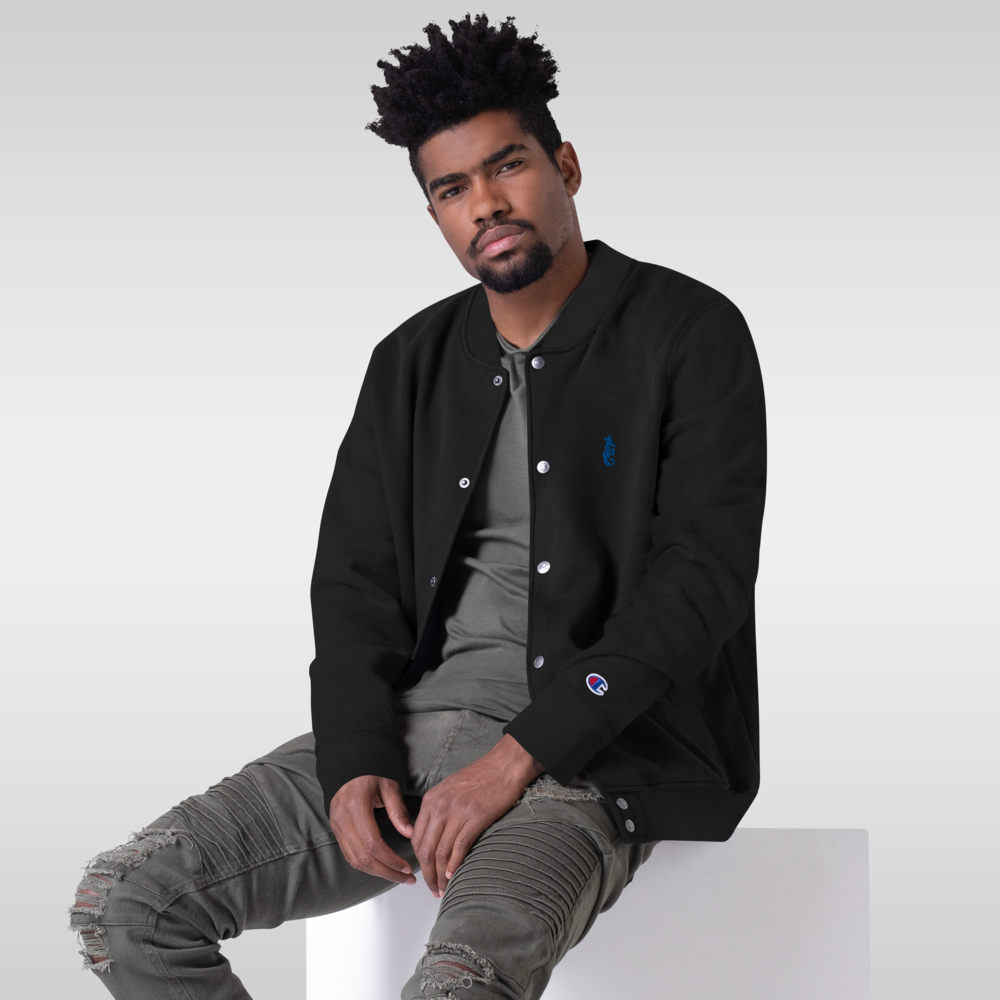 Dwayne Elliott Collection Embroidered Champion Bomber Jacket - Royal Seahorse Logo - Dwayne Elliott Collection