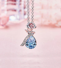 Load image into Gallery viewer, Swarovski Crystals Aquamartine Waterdrop with Pink Topaz Rose  Necklace