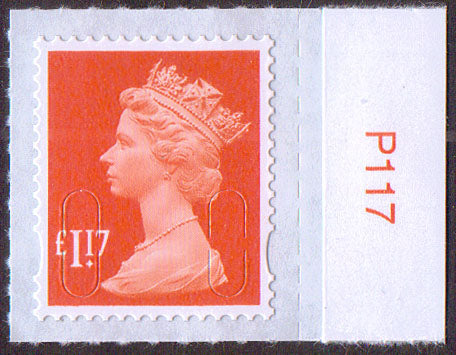 £1.17 u/m orange-red M17L machin stamp no source code plain backing paper SG U2937 with value tab
