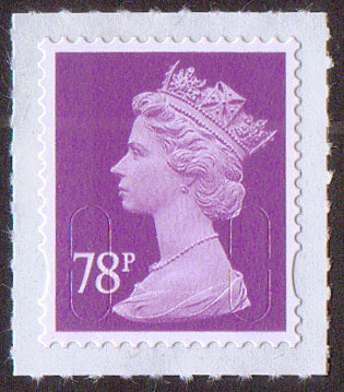 78p u/m deep mauve M13L machin stamp no source code SG U2928