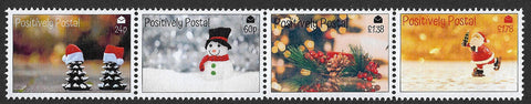 2019 Positively Postal Christmas Artistamps x 4 strip