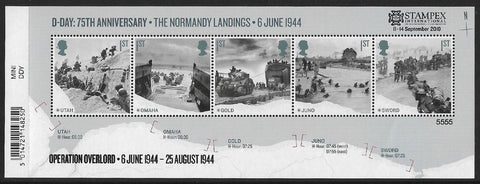 D-Day 75th Anniversary The Normandy Landings u/m mnh stamp miniature sheet overprinted STAMPEX Limited Edition.